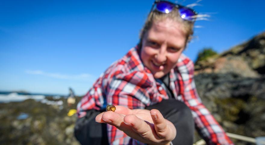 Student holding snail near shore