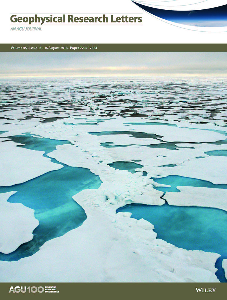 Cover of Geophysical Research Letters showing Arctic Ocean and melting sea ice