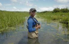 Olivia Barksdale standing in swamp