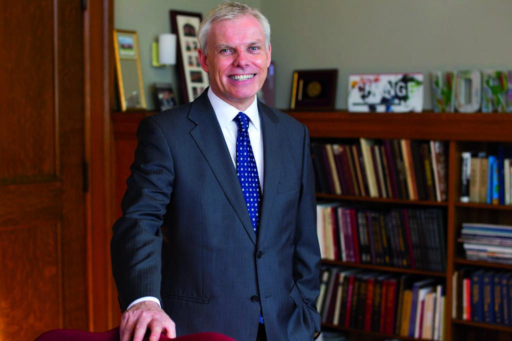 Clark University President David Angel in his office