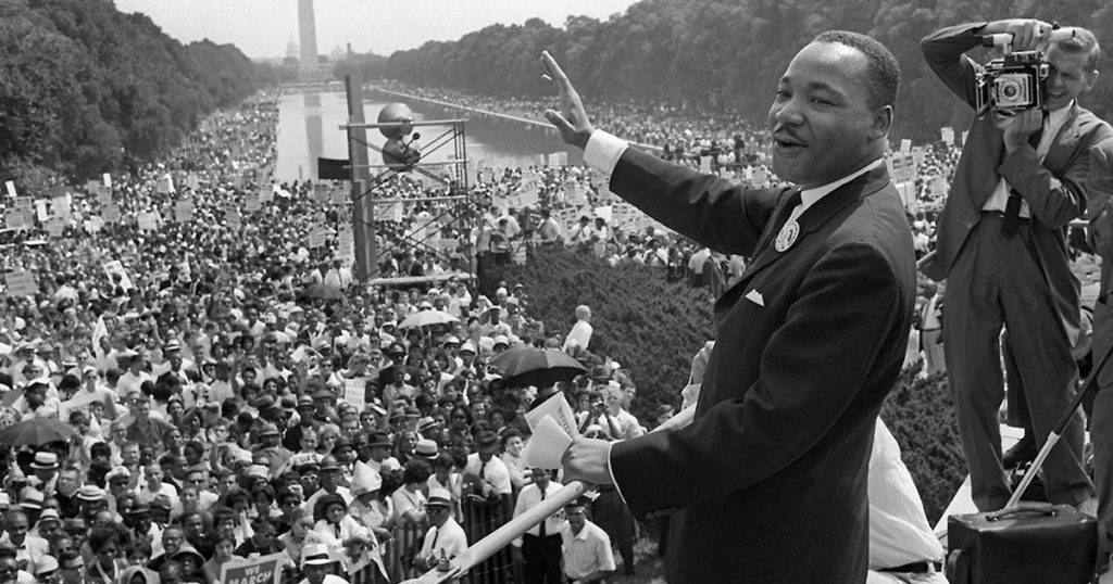 "Martin Luther King at one of his most famous speeches, ""I Have a Dream,"" in Washington, D.C."