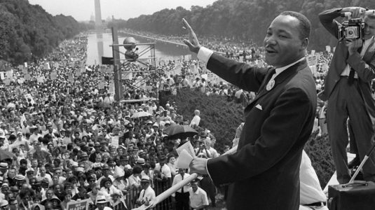 """Martin Luther King at one of his most famous speeches, """"I Have a Dream,"""" in Washington, D.C."""
