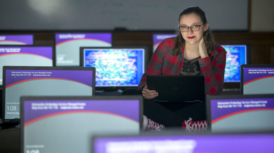 Samantha Hughson in Clark computer lab