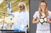 Two images of Rylee Simons, one in the science lab and another holding a soccer ball