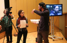 Screen students students work with director Kristopher Avedisian