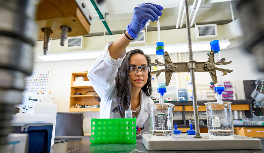 Diana Argiles Castillo works in the biochemistry lab