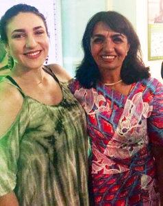 Lizzie Lloyd, left, and Muhterem Aras standing together