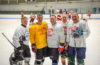 Participating in the annual Alumni Hockey Game last November, from left: Scott Love '81, Dave Kahl '81, MBA '84, Lee Plave '80, Tom Dolan Jr. '79, and Dave Fried '81.