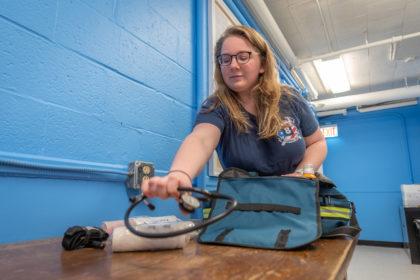 Becca Nash '19 prepares her EMT bag