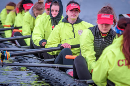 Clark crew team on Lake Quinsigamond
