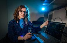 Liza French recording podcast