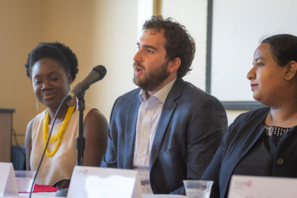Steinbrecher Fellows alumni Akosua Ampofo Siever, Samuel L. Berman, M.S. '15, Suaida Firoze participate in panel discussion