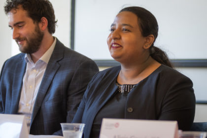 Steinbrecher fellow alumni Samuel Berman and Suaida Firoze speak at panel discussion