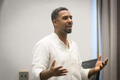 Ousmane Power-Greene teaching a class