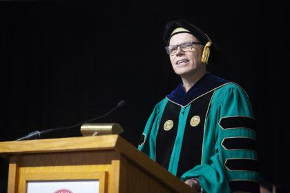 President David Angel speaks at Clark University Commencement