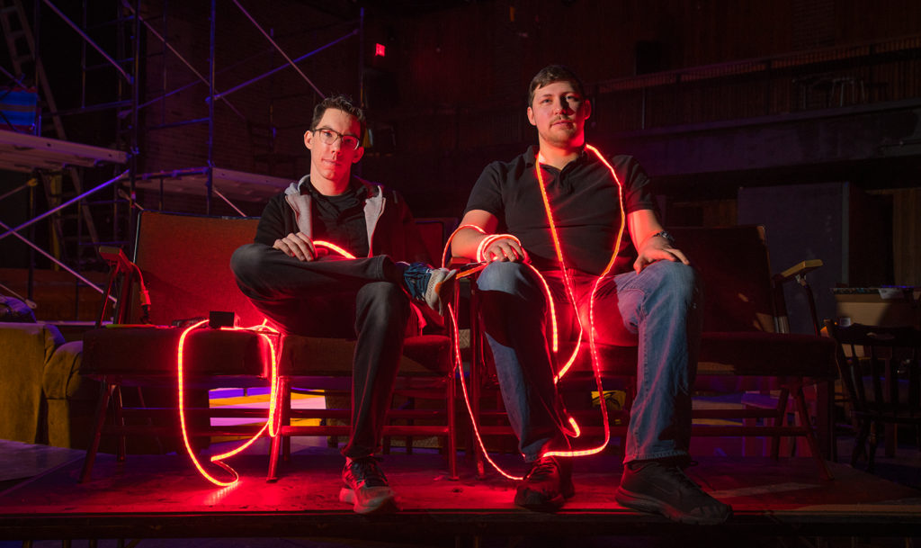 Kevin McGerigle, technical director, and Alex Rakovshik '19, lighting award winner, in Little Center
