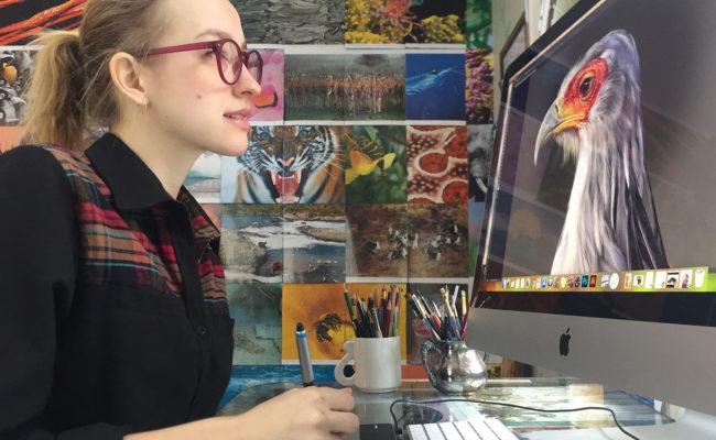 Juliana Spahr works on a scientific illustration