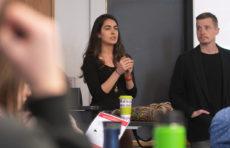 Saira Khan of Harvard Humanitarian Initiative presents to Professor John Rogan's class