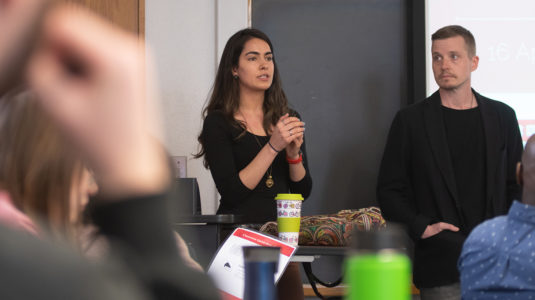 Saira Khan of Harvard Humanitarian Initiative presents to Professor John Rogan's class