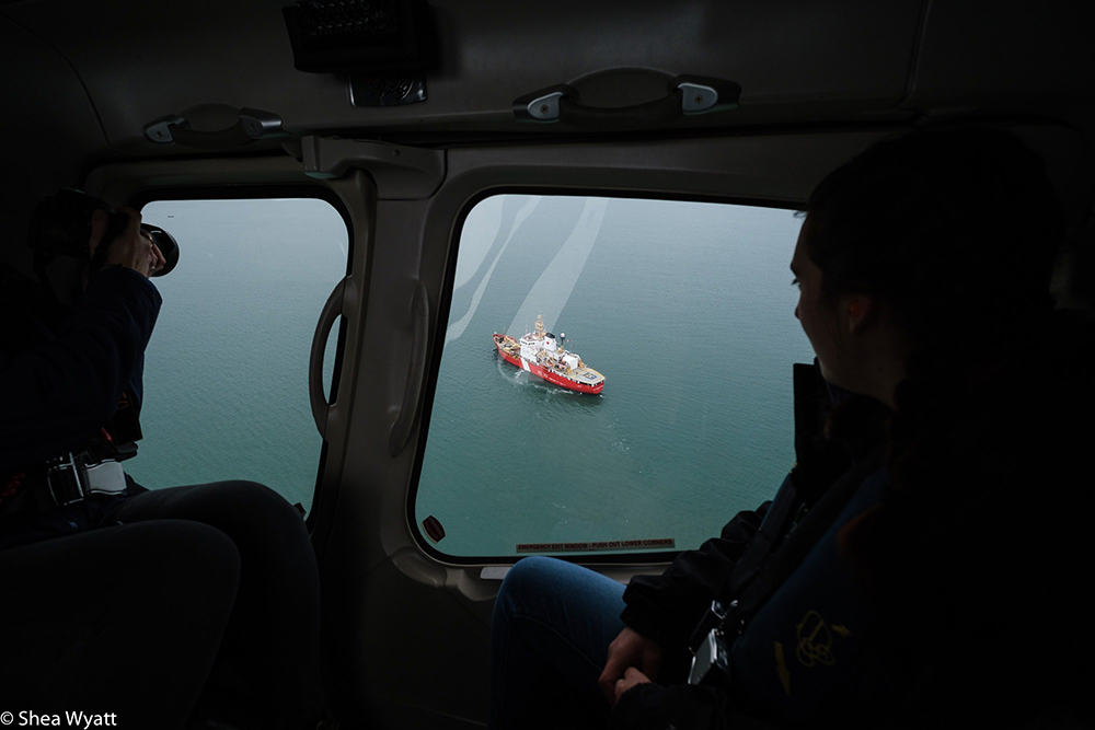Sophie Spiliotopoulos observes the icebreaker from a helicopter.