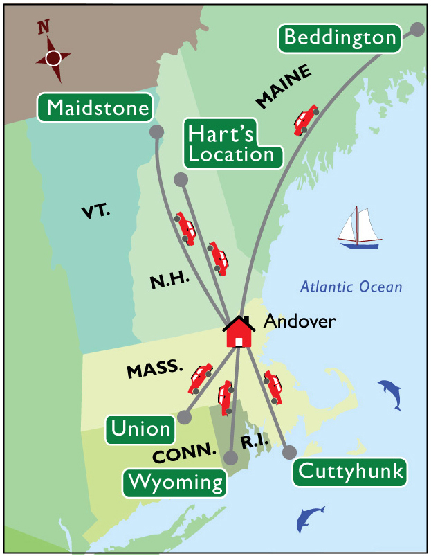 Map of New England showing the towns Julianna Lugg visited