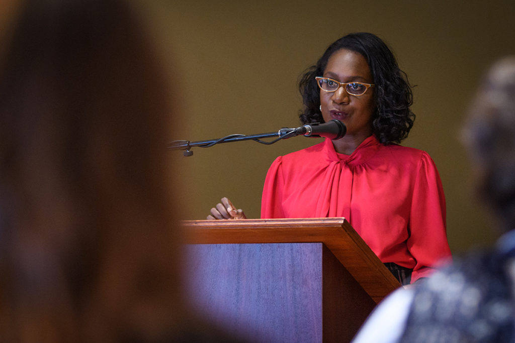 Sheree Ohen speaks at the 2018 Diversity and Inclusion Certificate Program graduation ceremony.