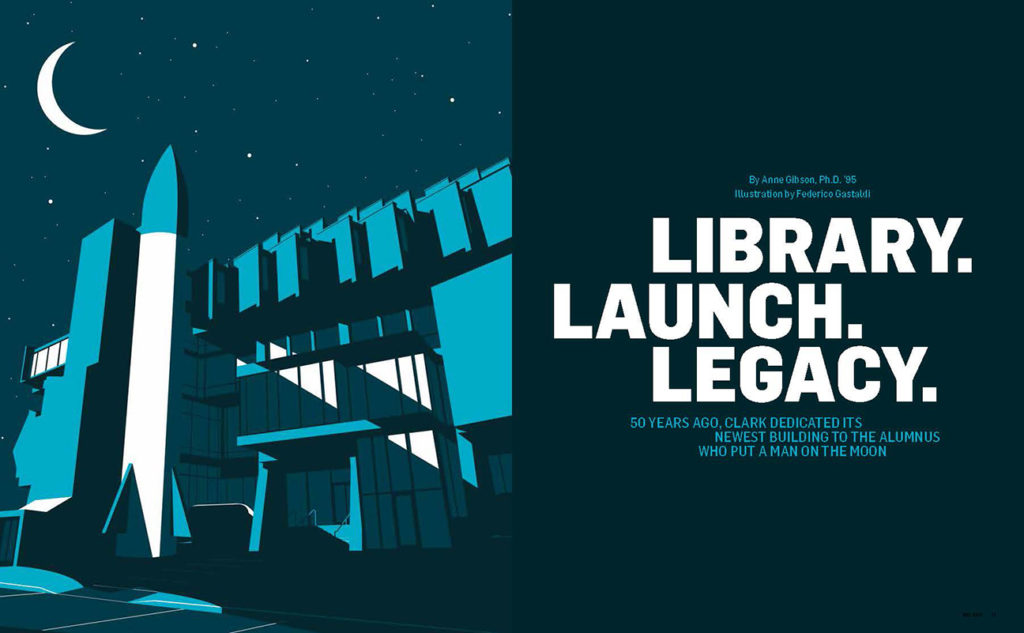 Clark Magazine fall 2019 opening pages of feature on library anniversary