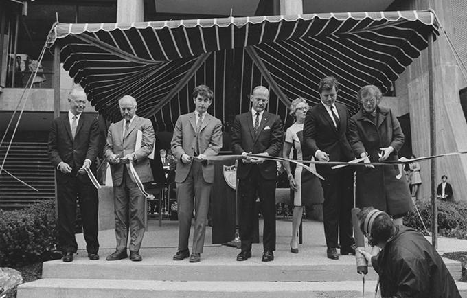 Goddard Library ribbon cutting on May 19, 1969
