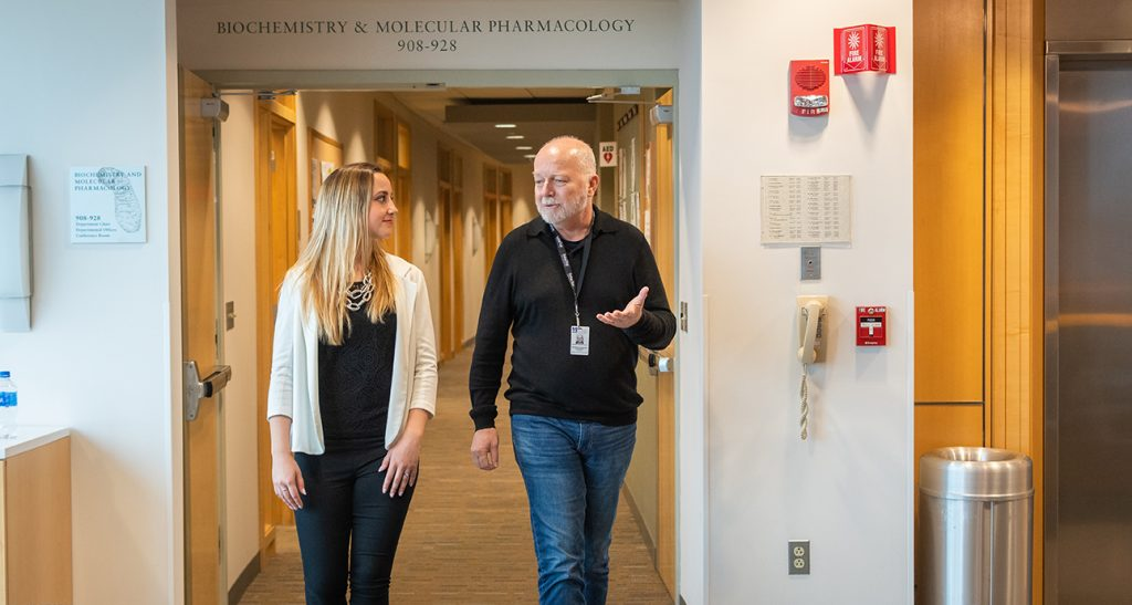 Sarah Berube at UMass Medical School with Kendall Knight '75, Ph.D.