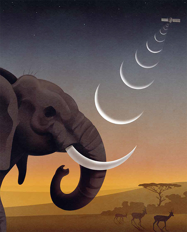 Clark magazine graphic of elephant and satellite