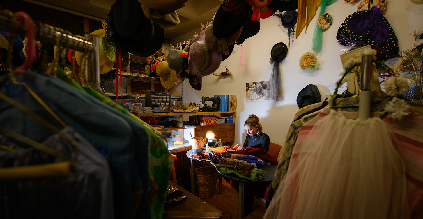 Julie Reed in the Clark University costume shop