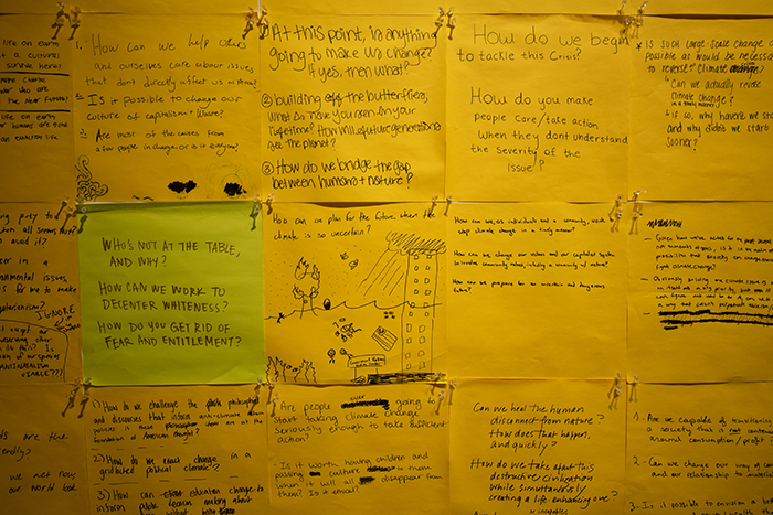 Close-up view of visitor contributions to The Uncertain Human Future: A participatory exhibit