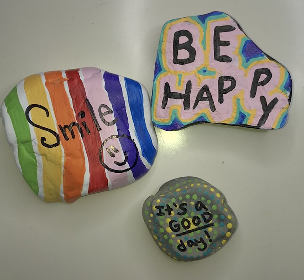 Rocks painted by Natalie Zaba on campus