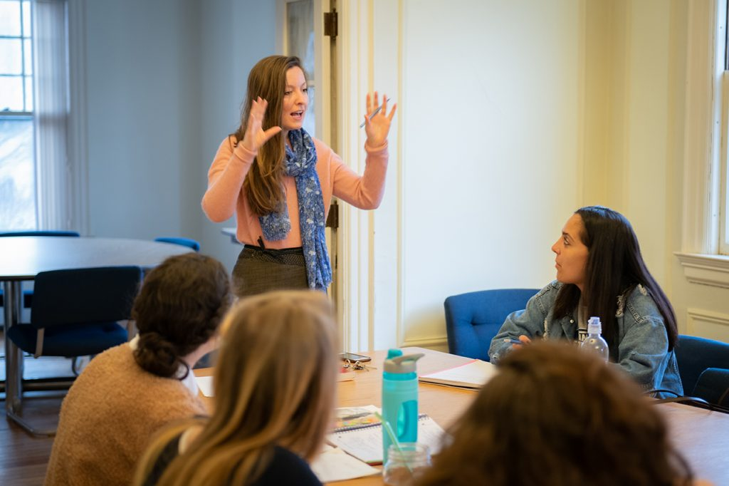 Professor Frances Tanzer teaches a class at the Strassler Center for Holocaust and Genocide Studies