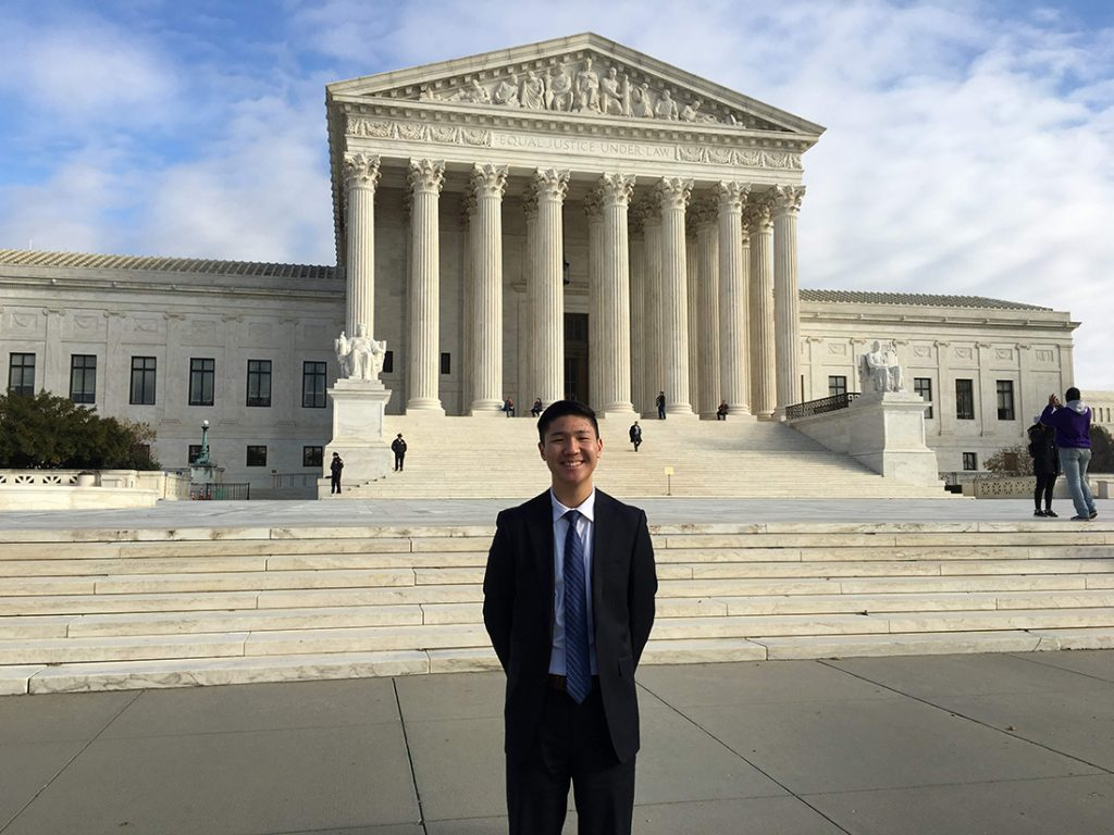 Joseph Jung '20 outside the Supreme Court of the United States