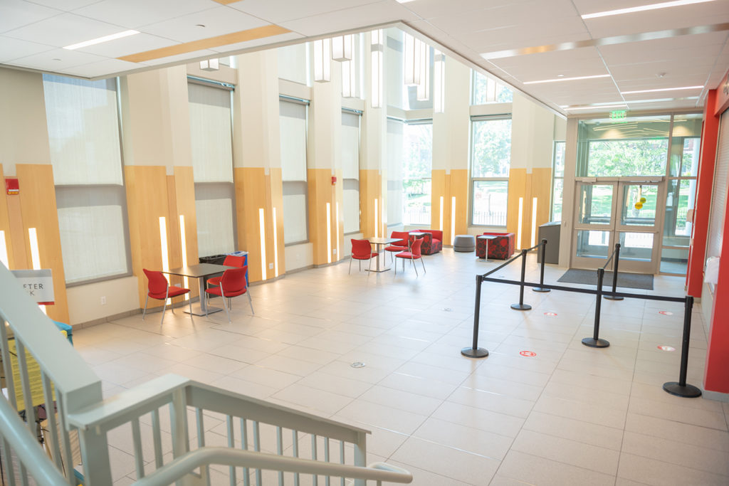 Clark University Alumni and Student Engagement Center lobby