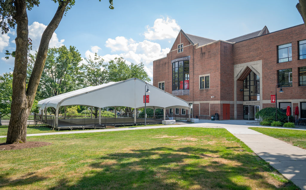 Multipurpose tent at Clark University