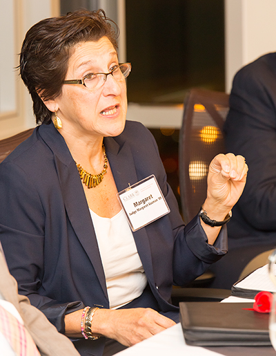 Massachusetts District Court Judge Margaret Guzman '89 speaks at a ClarkCONNECT event
