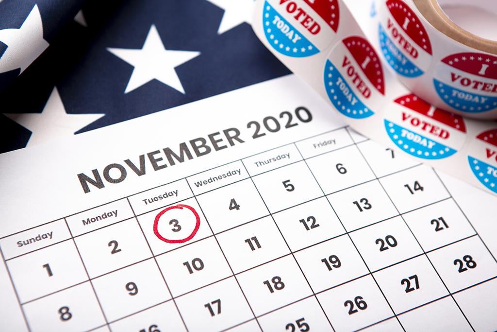 November 2020 calendar with Election Day circled