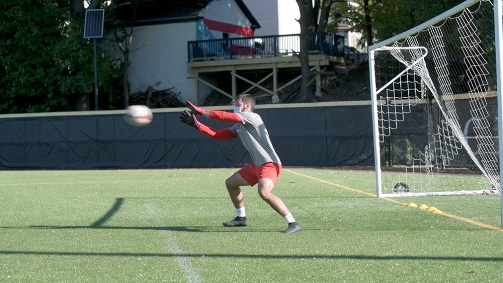 Men's soccer practices