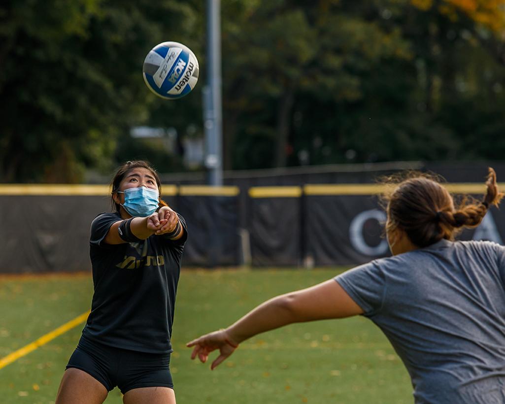 Women's volleyball team practices