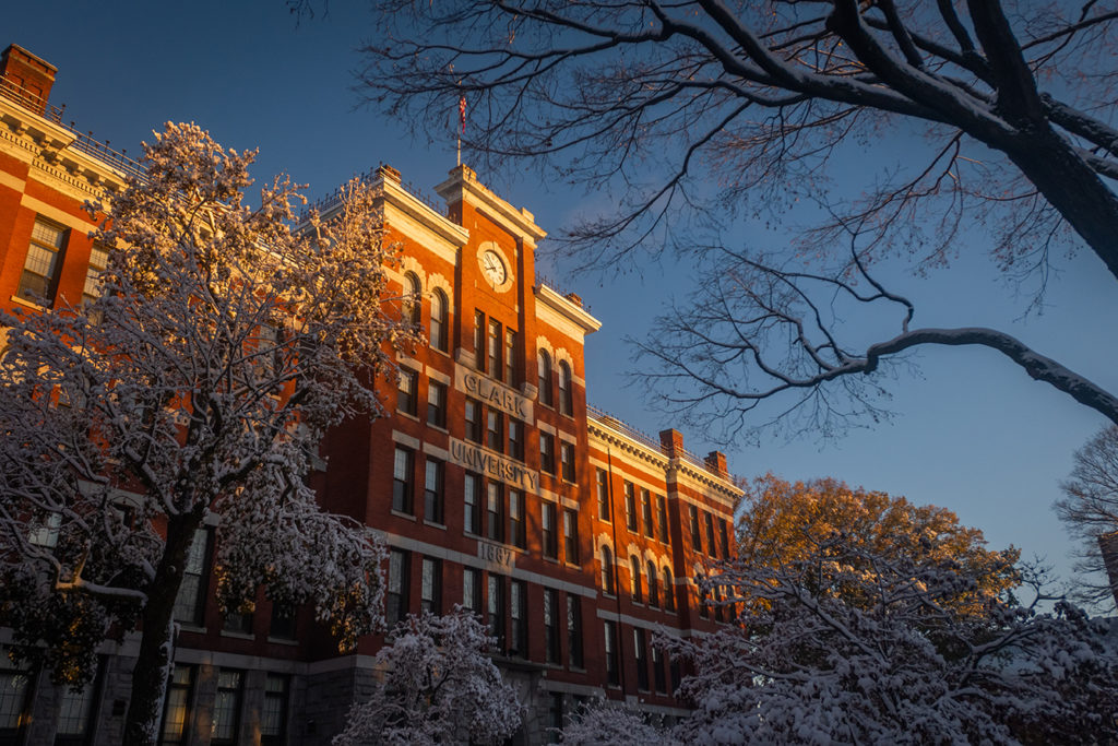 Jonas Clark Hall in the snow