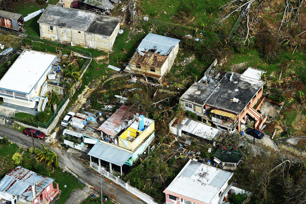 Damaged houses in Puerto Rico after Hurricane Maria