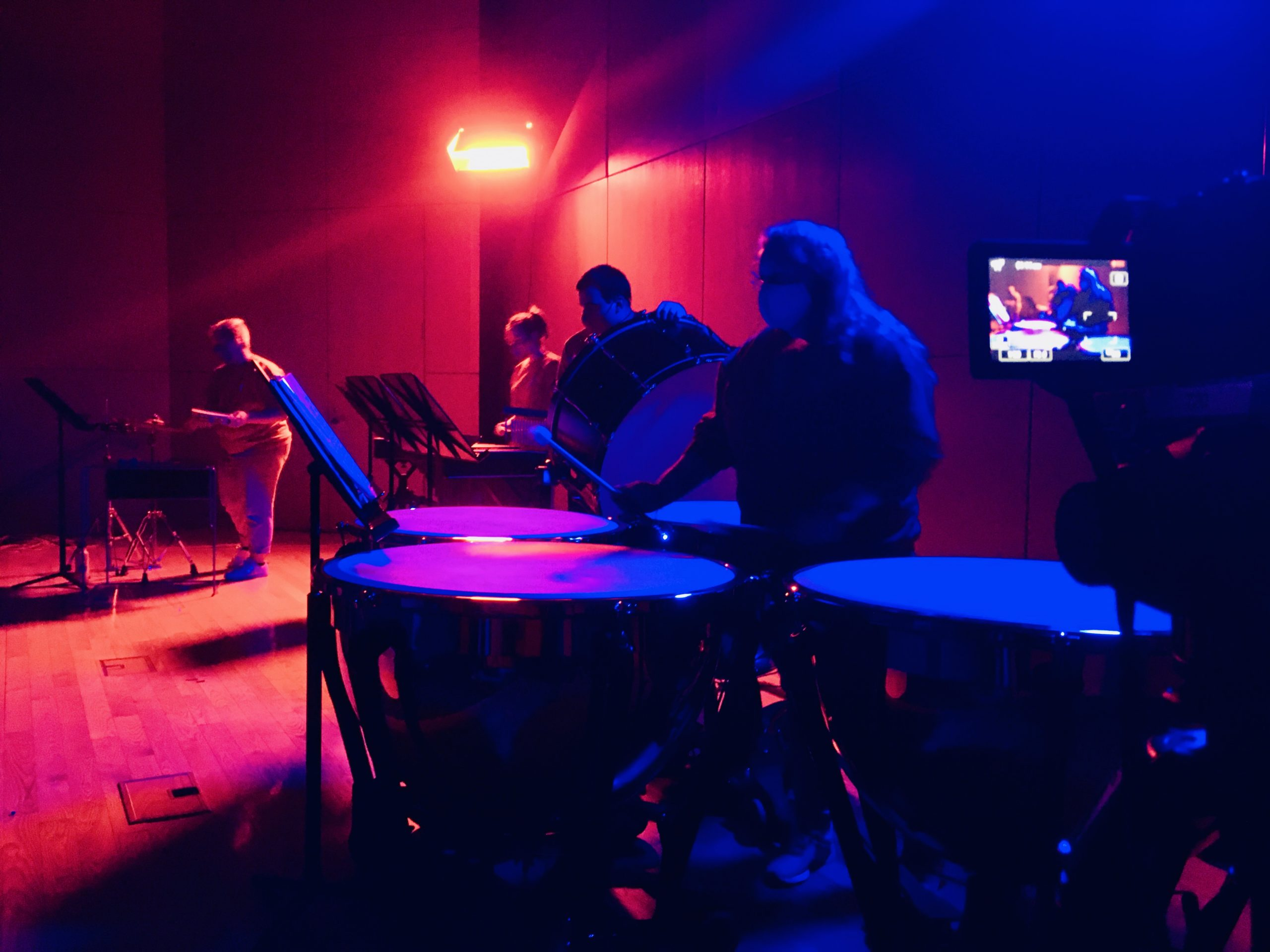 Concert Band percussion section performs in Razzo Hall
