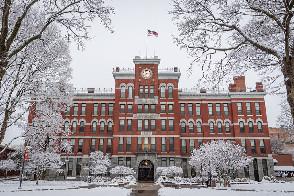Jonas Clark Hall in the snow at Clark University