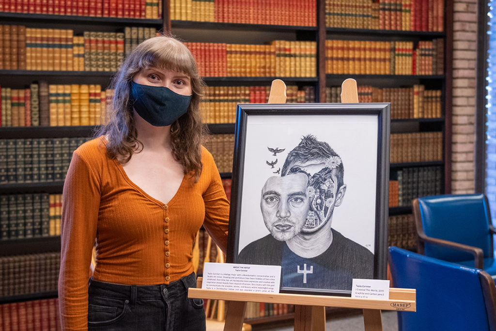 """Tayla Cormier with 'I Created This World"""" on display in the Rare Book Room"""