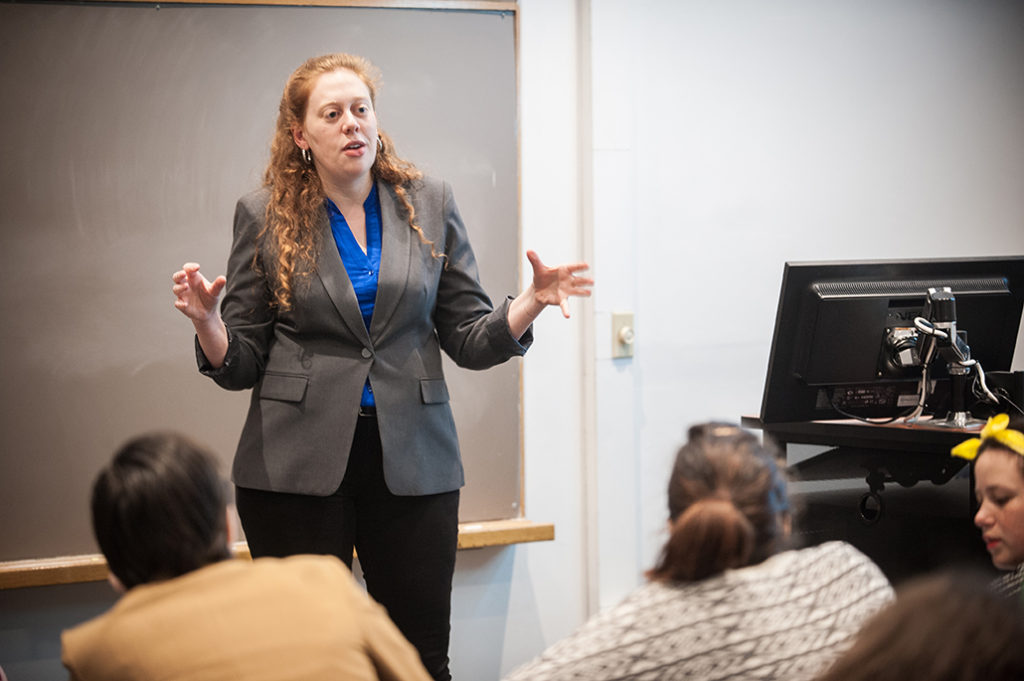Professor Ora Szekely teaches a political science class at Clark University