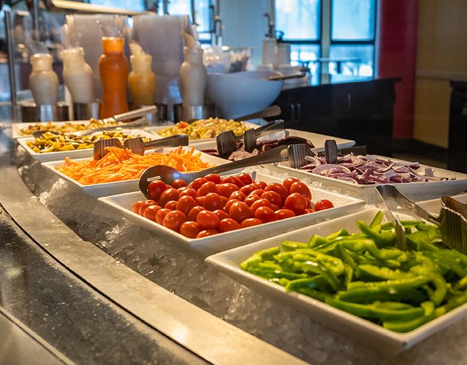 Clark University Higgins Café salad bar