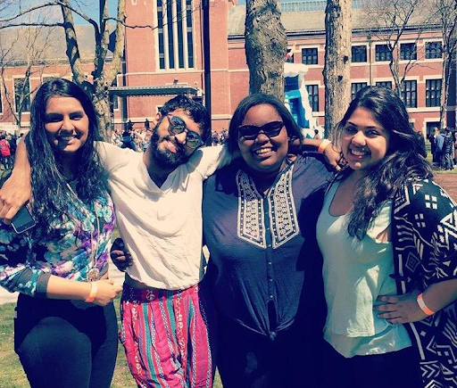 Maya Fox with friends on Spree Day at Clark University