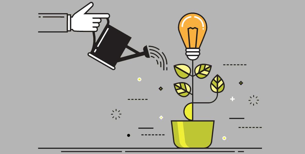 Stock illustration of idea as lightbulb growingin flowerpot